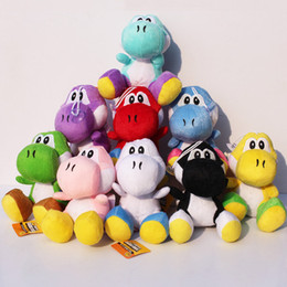 "sucker toys UK - 10Pcs Lot Super Mario Yoshi Plush Doll Toys Stuffed Soft With Sucker 7""18cm 9 Colors Selectable Free Shipping Y200703"
