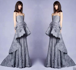 $enCountryForm.capitalKeyWord UK - Elegant New 2019 Collection Long Grey Evening Gowns With 3d Floral Embellishments Lace Strapless Neckline Pageant Party Dress Gowns for Prom