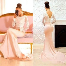 Mermaid Lace Bride Maids Dress Australia - 2019 Evening Dresses Crew Neck Lace Applique Long Sleeves Prom Dresses Mermaid Sweep Train Maid of Honor Dress Bride