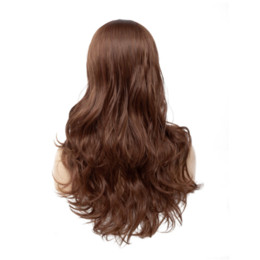 synthetic fiber lace wigs UK - Medium Brown Color Lace Synthetic Hair Wigs Natural Wave Heat Resistant Fiber Long Wavy Machine Made Wig Middle Part