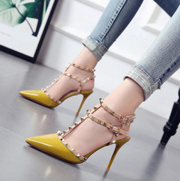 China 2019 European and American style rivet pointed high heeled sandals women fashion sandals fine heel shoes woman shoes Roman sandals cheap american style sandals suppliers