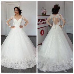 $enCountryForm.capitalKeyWord Australia - A-Line Wedding Dresses V-Neck Long Sleeve Lace Appliques Illusion Covered Button Back Bridal Dresses Fashion Wedding Gowns robe de mariee