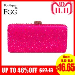 crystal purple clutch NZ - Boutique De FGG Hot Pink Fuchsia Crystal Clutch Evening Bags Women Diamond Metal Box Handbag Wedding Party Clutches Bridal Purse D18110106