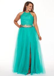 $enCountryForm.capitalKeyWord UK - Modest Plus size Cheap Prom Evening Dress 2019 Aqua Blue Two Pieces Lace Applique Tulle Side Split Special Occasion Formal Party Dresses