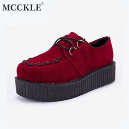 Flock Dress NZ - Dress Shoes Mcckle Autumn Women Creepers Platform With Lace Up Flock Female Casual Footwear For Ladies Flower Fashion Moccasins