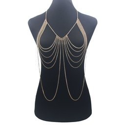 China wholesale Luxury Crystal Rhinestone Tassel Long Body Chain Harness Slave Necklace Beach Bra Jewelry suppliers