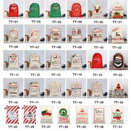 2020 Sacos de Presente de Natal Saco de Lona Grande Saco de Lona Saco de Cordão Com Sacola de Renas Orgânica Grande Papai Noel Sacos De Papai Noel para crianças venda por atacado