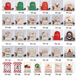 2021 Christmas Gift Bags Large Organic Heavy Canvas Bag Santa Sack Drawstring Bag With Reindeers Santa Claus Sack Bags for kids on Sale