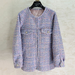 Wholesale fashionable woman s winter coat for sale - Group buy European and American women s wear winter new style Long sleeve button decoration Fashionable purple tweed coat