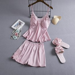silk nightie Australia - Pajamas Sets Silk Women Nightgowns Sexy Ladies Satin Nightwear Women Robe Nighties Sleepwear shorts combinaison pyjama femme Y200107
