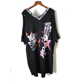 punk skull shirt Australia - 2019 Punk Rock Summer New Fashion Skull Print Off The Shoulder Short Sleevee Cotton Plus Size T-shirt Women Clothing Tops Y19072701