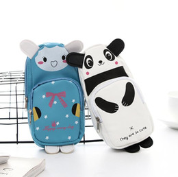panda makeup Australia - PU Leather Cosmetic Bag Cartoon Cat Panda Rabbit Girl Zipper Makeup Bag Multi-function Large Capacity storage bag