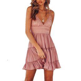 Red Pink Strap Lace Dress Australia - 2018 Summer women bohemian dress backless sexy v neck pink white mini beach boho dress lace party sleeveless strap Sundress T190612