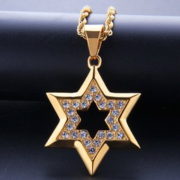 $enCountryForm.capitalKeyWord NZ - Men Stainless Steel Hip Hop Jewelry Ice Out Gold Plated David Star Charm Pendant Necklace Luxury Hiphop Jewellery
