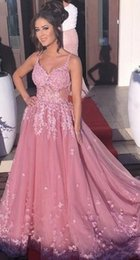 Formal Evening Gowns Pictures Australia - 2019 Long Ball Gown Evening Dresses Spaghetti Straps Lace Appliques See Through Tulle Pink Long Formal Party Prom Gowns DE036