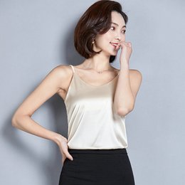 plus size gold tops women Canada - Spaghetti Strap Top Women Halter V Neck Basic White Cami Sleeveless Satin Silk Tank Tops Women'S Summer Camisole Plus Size