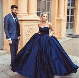 $enCountryForm.capitalKeyWord Australia - Navy Blue Ball Gown Prom Dresses Satin Sweetheart Neckline Sleeveless 2019 Modern Custom Made Plus Size Arabic Formal Evening Gowns