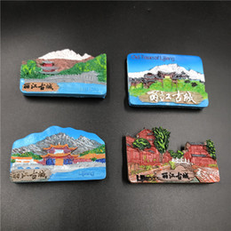 $enCountryForm.capitalKeyWord Australia - 3D Stereo City Magnets China Lijiang Ancient City Refrigerator Stickers Resin Tourism Souvenir Magnetic Fridge Stickers
