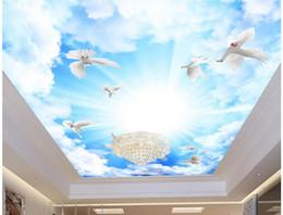 Custom Sized Photo Prints NZ - Custom any size photo Sky white dove zenith mural sky ceiling wallpaper