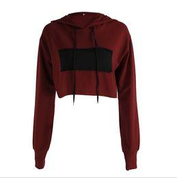 $enCountryForm.capitalKeyWord Australia - Women Hoodies Jumper Sweatshirt Patchwork Burgundy Casual Cropped Top Long Sleeve Wine Red Workout Pullover Coat Women
