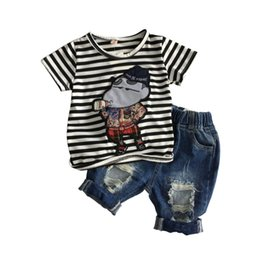$enCountryForm.capitalKeyWord UK - Toddler Boy Cartoon Clothes Sets 2pcs Cotton T-shirt Tops + Shorts Ripped Jeans Outfits Baby Summer Tracksuit Children Clothing