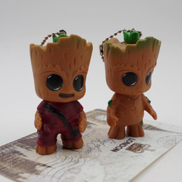 romantic figures NZ - Groot Keychain Guardians of the Galaxy Action Figures cartoon Keyring Groot Mobile phone kid toys bag Pendant Free TNT Fedex