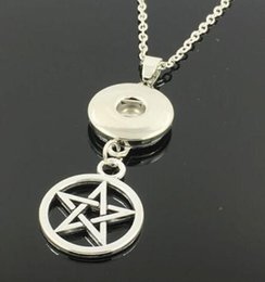 Dragon Dogs Australia - Vintage Silver Charms Pentagram OWL Ohm Dog Cat Mouse Deer Butterfly Snaps Dragon Button Necklace Pendants For Women Jewelry Gifts