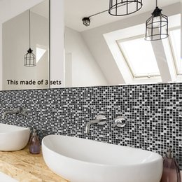 kitchen wall backsplash NZ - Tile Sticker Waterproof Bathroom Kitchen Wall Stickers Self Adhesive Mosaic Marble Morroco Backsplash Tiles Brick Decor