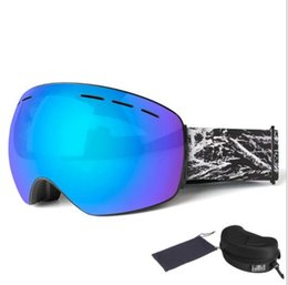 Double ski goggles online shopping - Panoramic double layer protective ski glasses Anti fog Adult spherical Waterproof and anti stress Sports goggles