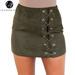 9b9070f0a Lily Rosie Girl Green Lace Up Skirts Sexy Pencil Short Skirts High Waist  Autumn Winter 2017 Cross Womens Zipper Split Bodycon Y1904002