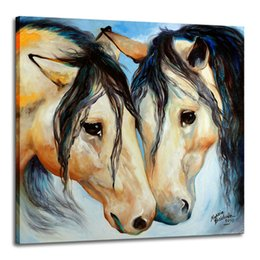 Wholesale animal friends resale online - Buckskin Friends Marcia Baldwin Home Decor Handpainted HD Print Oil Painting On Canvas Wall Art Canvas Pictures