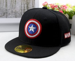 ca13c3ead9cc1 2019 Captain America cartoon superman Kids cap Hiphop Baseball Caps For  Children Flat Anime Hat Boy Girls Hats 50 to 54cm