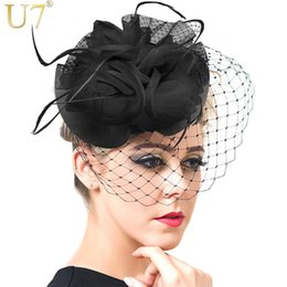 Wholesale U7 Hair Accessories Women Jewelry European Style Veil Feather Fascinator Black Cocktail Party Wedding Hat Bride Headwear F302