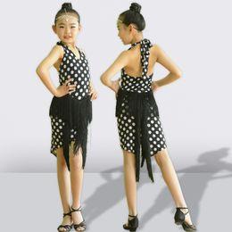 a7a244d63523 White Dot Latin Dance Dress For Girls Performance Clothing Kids Black Color  Tassel Latin Dresses Salsa Competition Costume