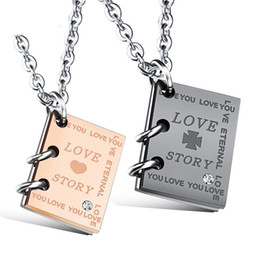 $enCountryForm.capitalKeyWord Australia - His and Hers Matching Necklaces Love Story Book Pendants Stainless Steel Couples Pendant Necklace Lovers jewelry Gift