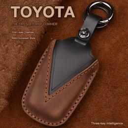 ToyoTa keyless case online shopping - New cow Leather Car key cover Button keyless Case For Toyota Camry CHR Prius Corolla RAV4 Prado keychain House