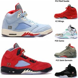Discount genuine white gold - 2019 Mens 5 Basketball Shoes New Trophy Room x 5s Ice Blue JSP Red Camo Seme Black Olympic Gold Blue Suede Designer Snea