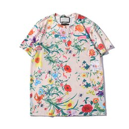 Mens Patterned Tees Australia - Mens T Shirt 2019 Summer New Designer Clothes Fashion Letter Print Short Sleeve Luxury Flower Pattern Top Colorful Tees 01