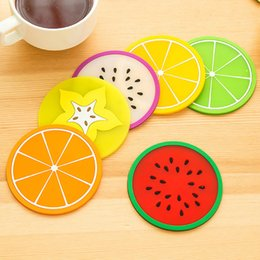 cute drink coasters UK - Cup Mat Pads Promotional Cute Fruit Pattern Colorful Silicone Round Cup Cushion Holder Thick Drink Tableware Coaster Mug