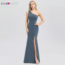 fcc4e104b6d23 Robe De Soiree Ever Pretty Sexy Dusty Blue Evening Dresses One Shoulder  Beaded Side Split Elegant Little Mermaid Dresses Abiye