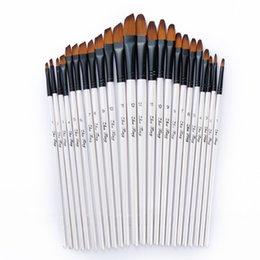 12 pcs Nylon Cabelo De Madeira Lidar Com Aquarela Paint Brush Pen Set Para Aprender Diy Oil Acrílico Pintura Art Escovas De Pintura Suprimentos em Promoção