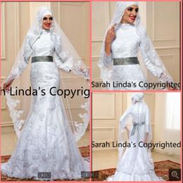 139436ab20f New Robe de mariage modest Arabic 3 4 sleeve mermaid Muslim Wedding Dress  high neck appliques beading vintage women bride dress hot sale