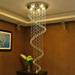 $enCountryForm.capitalKeyWord Australia - LED Modern Crystal chandeliers stair pendant lights fixtures indoor spiral Hanging Lights Deco Lamp Lighting for Hotel Hall Stairs