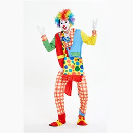 Wholesale Funny Clown Costumes Cospaly Clown Clothes Suit Circus Costume Men Women Joker Costume Christmas Halloween Masquerade Party Dress