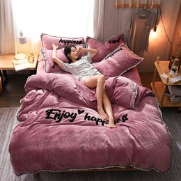 Discount velvet bedding - 13372 Autumn Winter Thick Warm Bedding Set Princess Style Korea Coral Velvet Extra Thickness Duvet Cover Bed flat Bed Sk