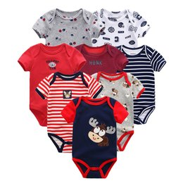 red jumpsuit baby boy Canada - 8 Pcs  lot Summer Short Sleeve Bodysuit Jumpsuit Set Ropa Bebe Baby Boy Clothes Q190520