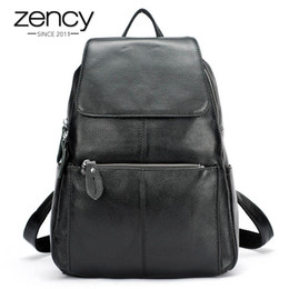 purple leather laptop bag NZ - Zency Fashion Color 100% Genuine Leather Casual Women's Backpacks Casual Travel Knapsack Laptop Bag Ladies Pocket Girl Schoolbag T190920