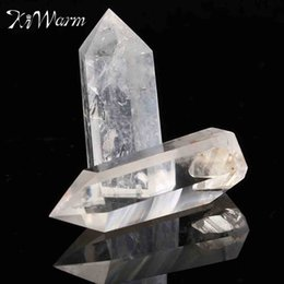 Decor Ornament Australia - Kiwarm 2pcs Natural Clear Crystal Quartz Wand Point Healing Stones For Aquarium Diy Crafts Making Ornaments Home Decor Gift C19041101