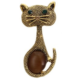 opal brooches 2019 - New Vintage Opal Cat Eye Brooch Pins For Women Cute Animal Brooches Wedding Party Gold cheap opal brooches