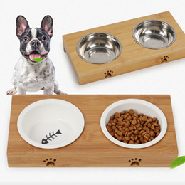 cat stainless steel feeder 2020 - Elevated Pet Dog Cat Bowls Raised Pet Feeder Bowl Stand Comes with Extra Two Stainless Steel or Ceramic Bowls for All Si